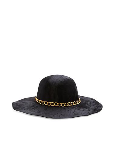 Crushed Velvet Floppy Hat with Chain Detail,BLACK,large
