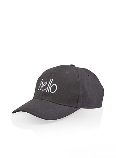 Hello Embroidered Baseball Cap,BLACK,large