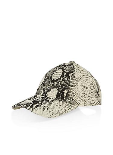 Snake Print Baseball Hat,BLACK,large