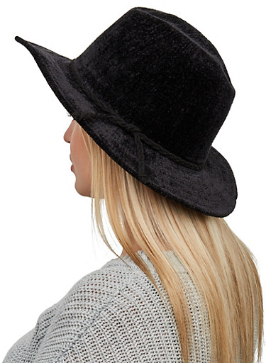 Chenille Fedora,BLACK,large