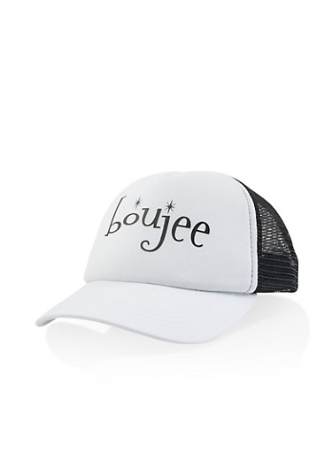 Boujee Graphic Trucker Hat,WHITE,large