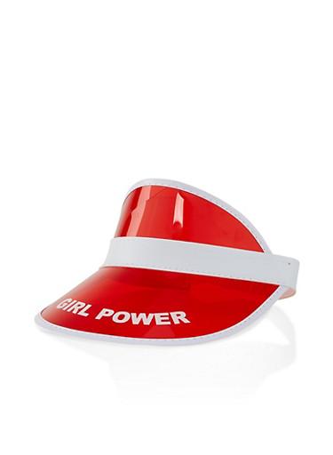 Girl Power Red Plastic Visor,RED,large