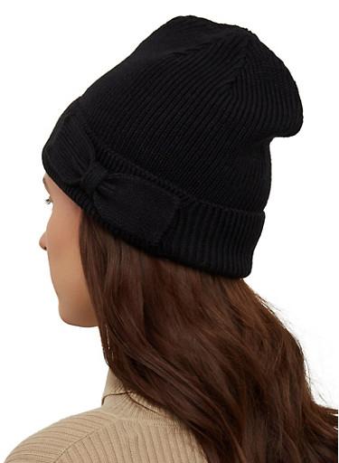 Bow Detail Knit Beanie,BLACK,large