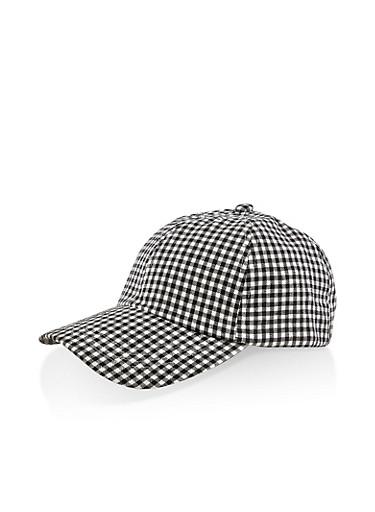Checkered Tie Back Baseball Hat,BLACK,large