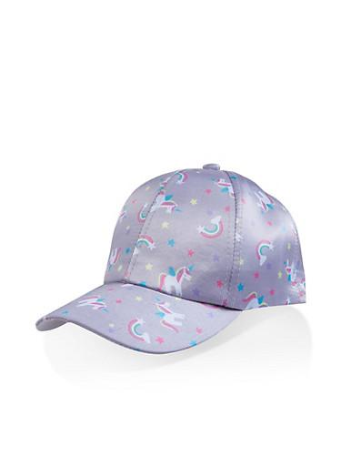Unicorn Print Baseball Cap,GRAY,large