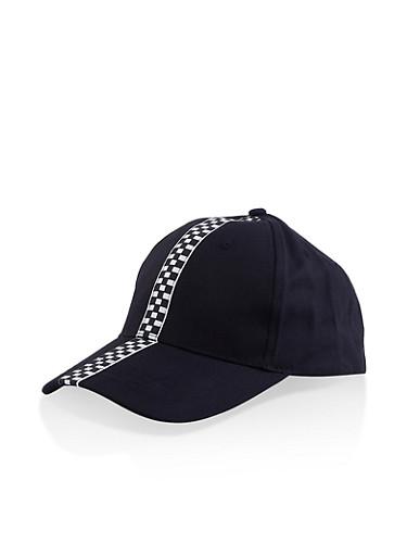 Checkered Detail Baseball Cap,BLACK,large
