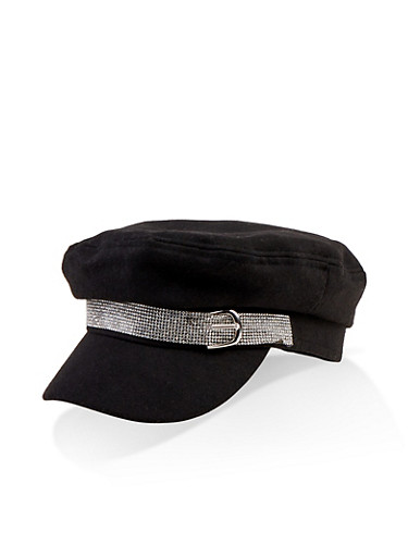 Rhinestone Buckle Newsboy Cap,BLACK,large