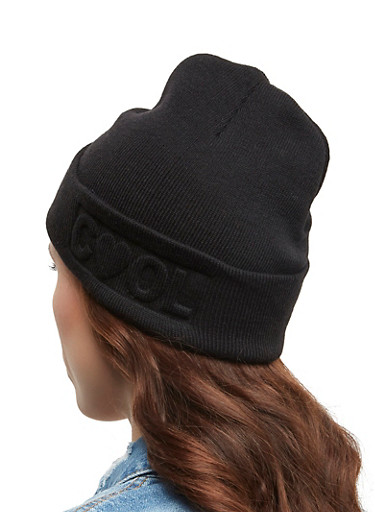 Cool Embossed Knit Beanie,BLACK,large
