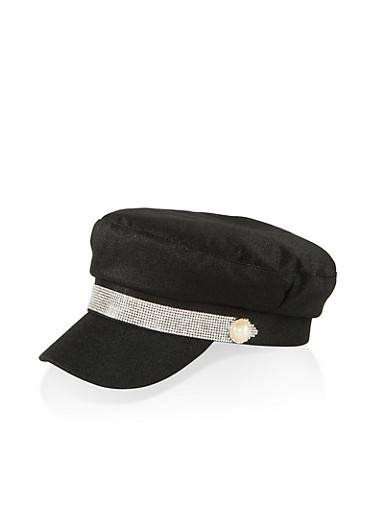 Rhinestone Detail Newsboy Hat,BLACK,large