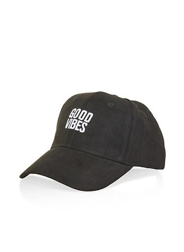 Good Vibes Faux Suede Baseball Cap,BLACK,large