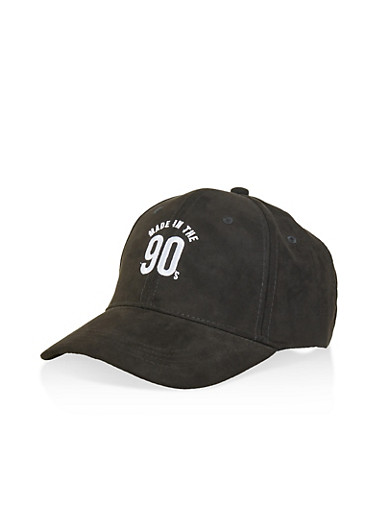 Made in the 90s Faux Suede Baseball Cap,BLACK,large