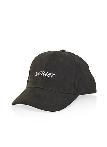 90s Baby Faux Suede Baseball Cap,BLACK,large