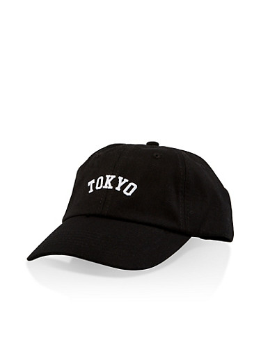 Tokyo Embroidered Baseball Cap,BLACK,large