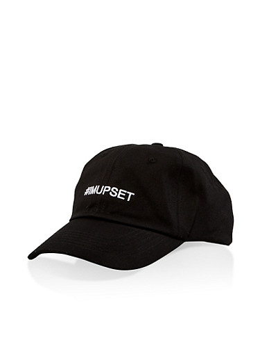 Hashtag Im Upset Embroidered Baseball Cap,BLACK,large