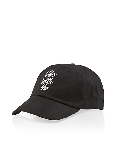Vibe With Me Embroidered Baseball Cap,BLACK,large