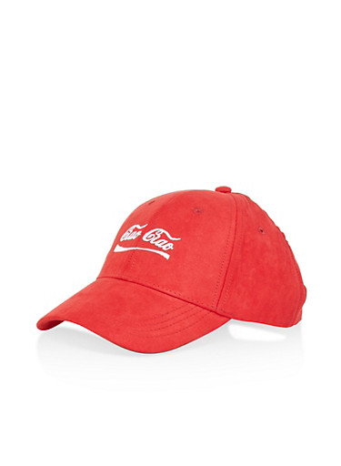 Ciao Ciao Graphic Faux Suede Baseball Cap,RED,large
