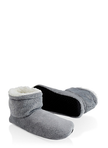 Sparkle Foil Bootie Slippers,GRAY,large