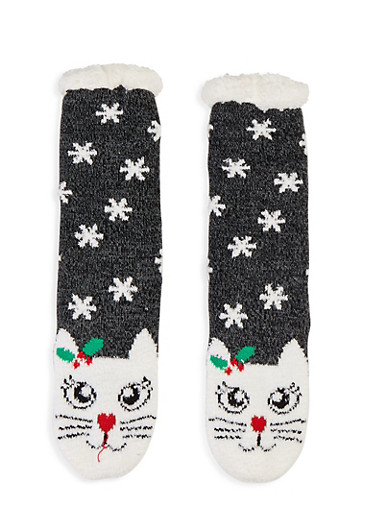 Holiday Knit Slipper Socks,BLACK,large