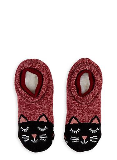 Critter Print Slipper Socks,BLACK,large