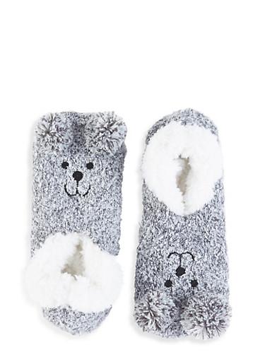 Plush Bear Slipper Socks,GRAY,large
