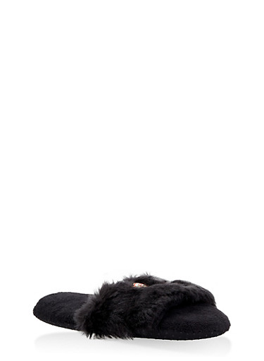 Graphic Faux Fur Slippers,BLACK,large