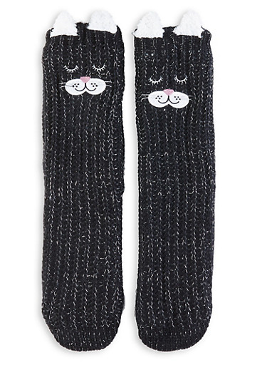 Animal Slipper Socks,BLACK,large