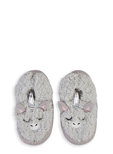 Critter Sherpa Slippers,GRAY,large