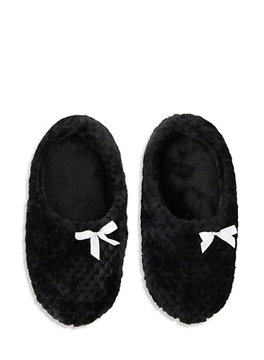 Textured Faux Fur Slippers,BLACK,large