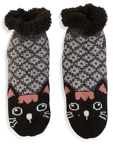 Animal Knit Slipper Socks,BLACK,large