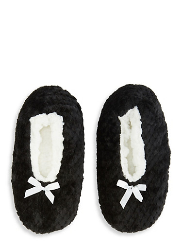 Fuzzy Slippers,BLACK,large