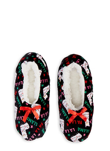 Sherpa Lined Christmas Animal Slippers,BLACK,large