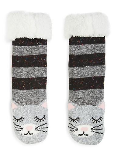 Animal Fuzzy Knit Socks,BLACK,large