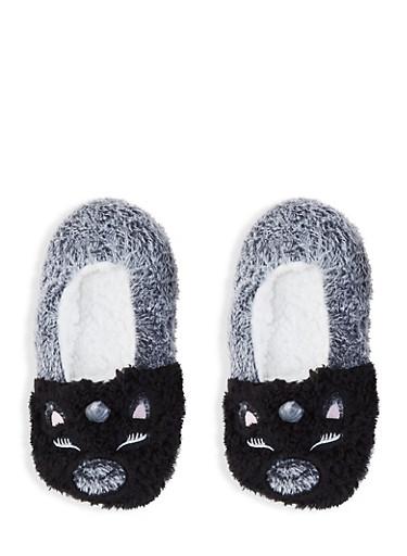 Fuzzy Animal Slippers,BLACK,large