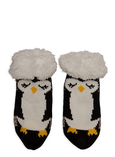 Animal Graphic Sherpa Lined Sweater Socks,BLACK,large