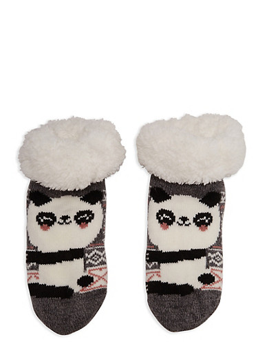 Animal Graphic Sherpa Lined Sweater Socks,GRAY,large