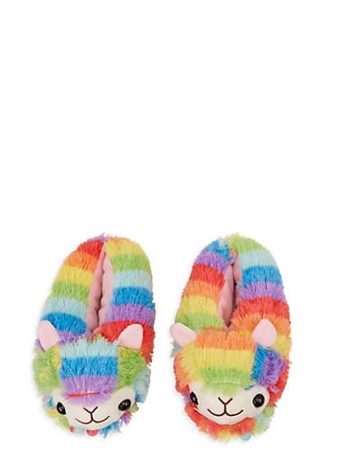 Rainbow Llama Slippers,MULTI COLOR,large