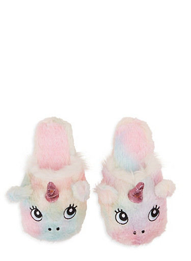 Unicorn Faux Fur Slippers,MULTI COLOR,large