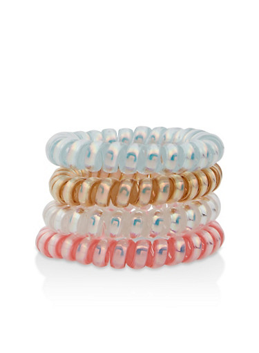 Set of 4 Iridescent Spiral Hair Ties,MULTI COLOR,large