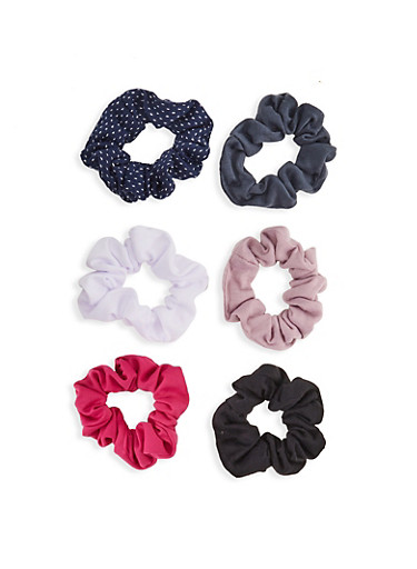 Set of 6 Scrunchies,MULTI COLOR,large