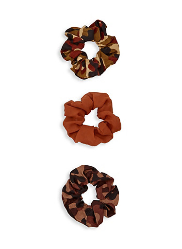 Set of 3 Scrunchies,BROWN,large