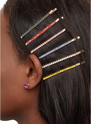Rhinestone Bobby Pins and Stud Earrings Set,GOLD,large
