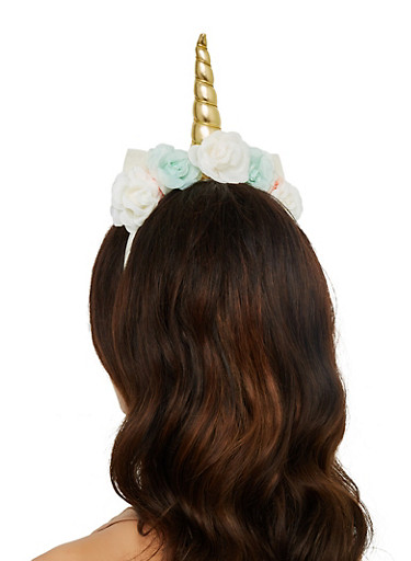 Flower Unicorn Headband,ROSE,large