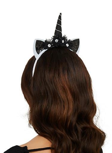 Flower Glitter Unicorn Headband,BLACK,large