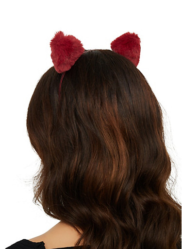Trio of Faux Fur Cat Headband,MULTI COLOR,large