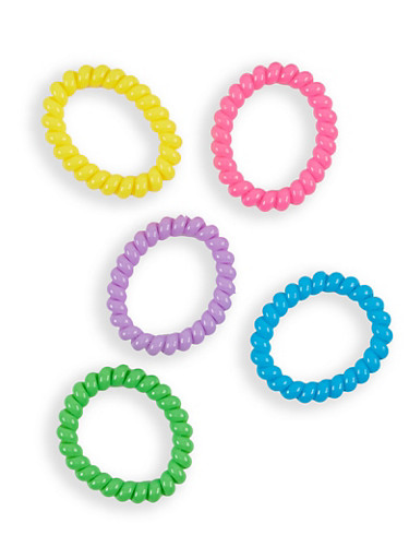 Set of 5 Spiral Cord Hair Ties,MULTI COLOR,large