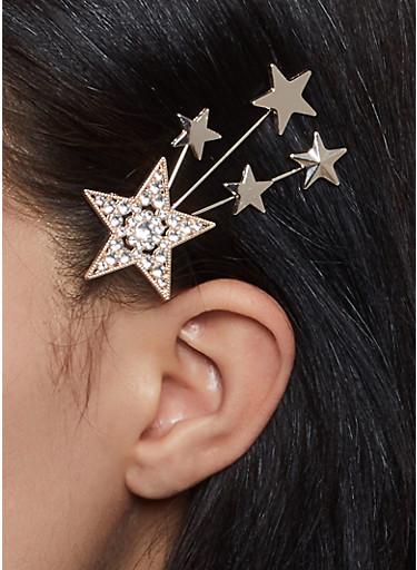 Rhinestone Star Hair Clip,GOLD,large