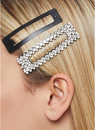 Set of Rhinestone and Metal Hair Clips,CLEAR,large
