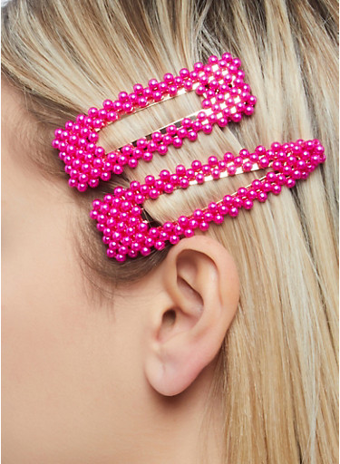 Colored Faux Pearl Hair Clips,NEON PINK,large