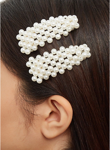 Faux Pearl Barrettes,SILVER,large