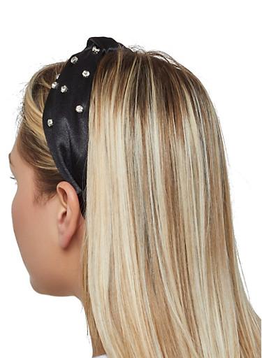 Rhinestone Knotted Headband,BLACK,large